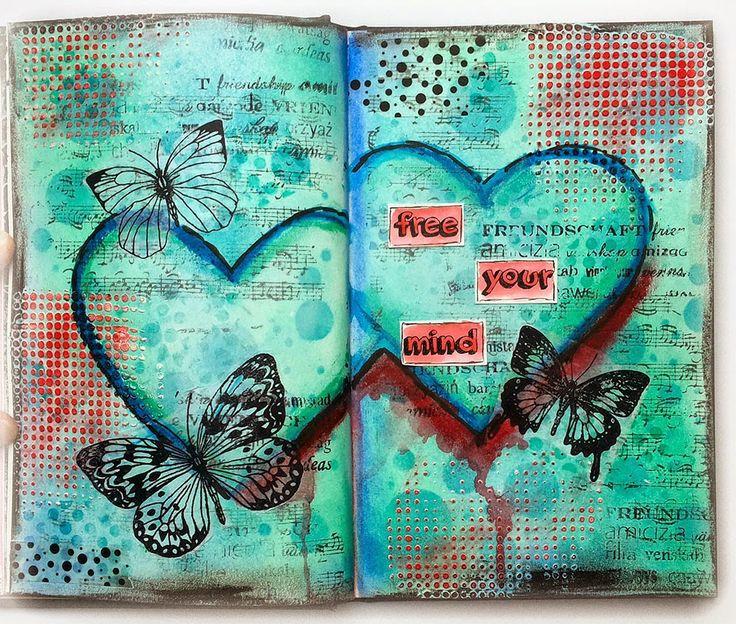 Today I'd like to share with you how I created this Art Journal page.   Heute möchte ich Euch zeigen, wie ich diese Seite in meinem Art Jour...