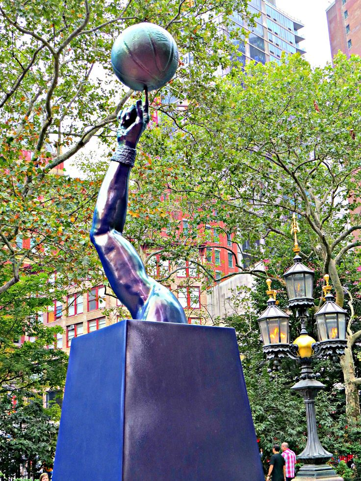 """""""Liberty"""" (2015), bronze and automotive paint sculpture by Hank Willis Thomas (b. 1976 Plainfield, New Jersey), in City Hall Park, New York City. September 4, 2015."""