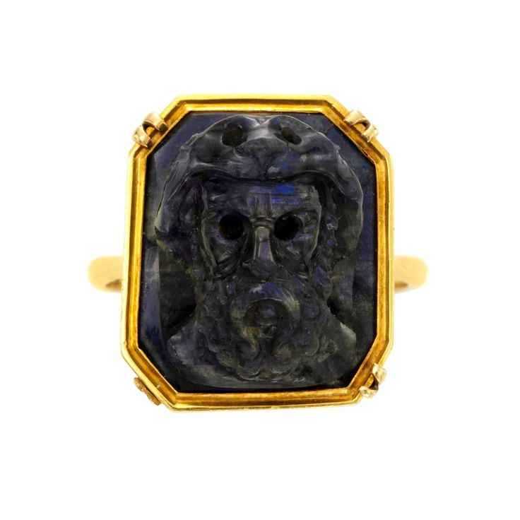 Antique Dionysus Carved Classical Labradorite Gold Cameo Ring | From a unique collection of vintage more rings at https://www.1stdibs.com/jewelry/rings/more-rings/