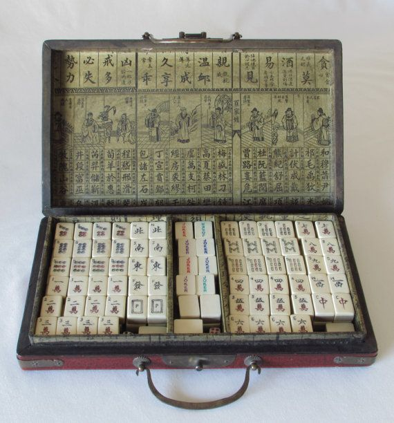 160 Piece Mahjong Game Set in Case with Geishas by DayJahView  #Vintage #Mahjong #Game