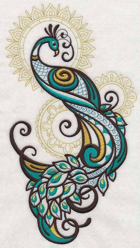 RQQ™ Mehndi Peacock spray gold accents embroidered fabric quilt block square