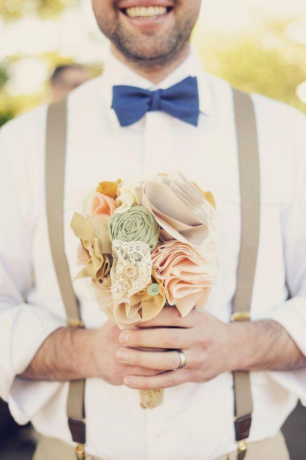 cute fella and a fabric bouquet