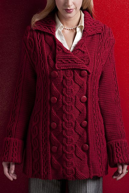 Ravelry: Pea Coat pattern by Shirley Paden (oh my god. i love pea coats, especially red ones...and THIS is a work of art. i could never even dream of being good enough to knit this. wow.)