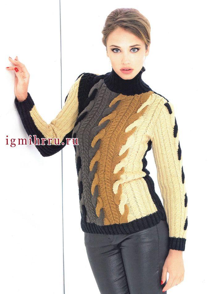 Эффектный четырехцветный пуловер с косами. Спицы