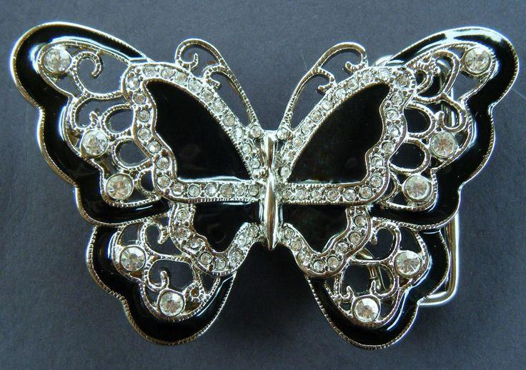 Black Rhinestone Glitter Butterfly Butterflies Fashion Belt Buckle Buckles #butterfly #butterflies #blackbutterfly #butterflybeltbuckle #blackbutterflybuckles #beltbuckle