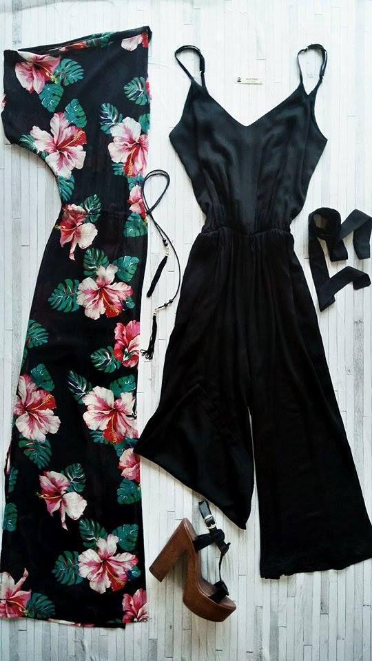 jumpsuit_black, 100% visc. maxi_kimono, floral_print, 100% pol.  black_leather, handmade, high_heels