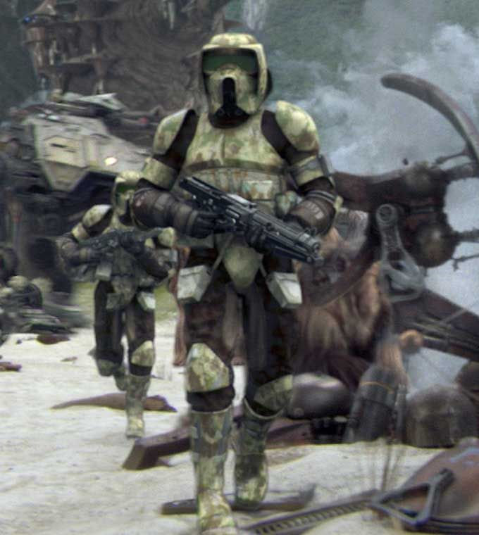 Clone scout troopers serving on Kashyyyk in the last phase of the Clone Wars. Description from starwars.wikia.com. I searched for this on bing.com/images
