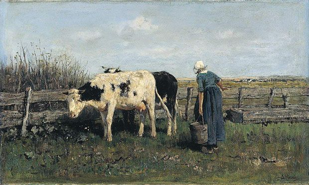 Anton MAUVE (1838-1888, Dutch painter): Milking Time, about 1875 (The National Gallery, London)