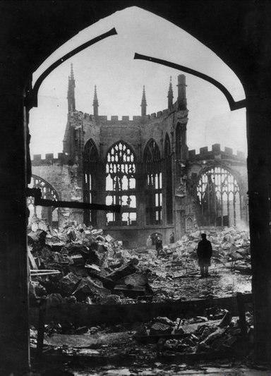 Ruins of Coventry cathedral after the Blitz