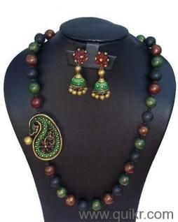 multi coloured terracotta jewellary