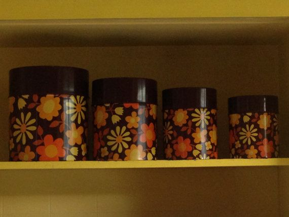 Vintage set of 4 floral canisters by QueSeraVintageGoods on Etsy, $35.00