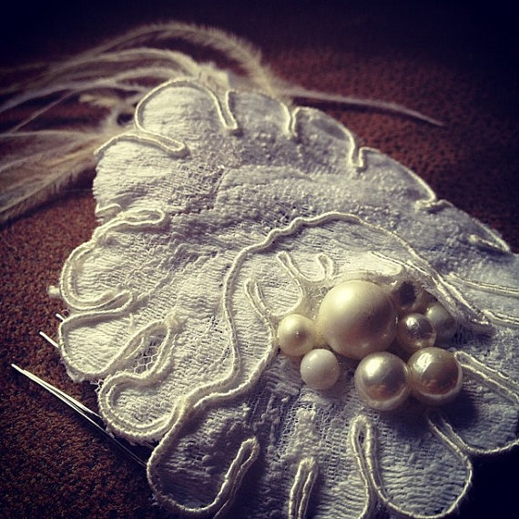 french lace + vintage bride + pearls + ostrich feathers + bridal comb + wedding accessories + bridal hair + $42 on etsy: Bridal Comb, Wedding Accessories, Lace Flowers, Ivory Pearl, Vintage Bride, Bridal Hair