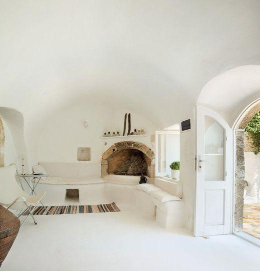 Whitewashed interiors.