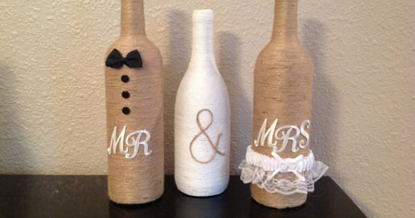 Mr & Mrs twine wine bottles by NorthwestdesignsbyHH on Etsy, $35.00 | wedding idea's | Pinterest | Twine Wine Bottles, Mr Mrs and Twine