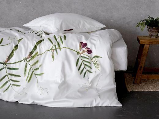 Södahl sengesæt med Ærteblomst motiv fra Flora Danica værket