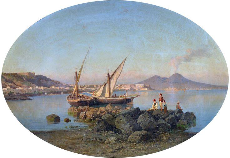 La Volpe Alessandro (Lucera, FG 1820 - Roma 1887) Veduta di Napoli ovale, olio su tela, cm 75x105