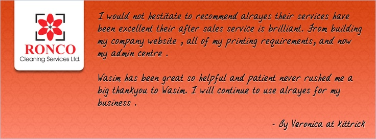 Kind words from Ronco Cleaning