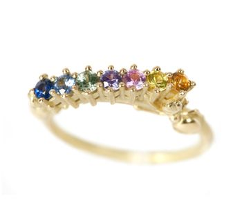 """Frances Wadsworth-Jones - """"Thieves VI"""" FlourishRing in18ct yellow gold with rainbow sapphires £1280"""