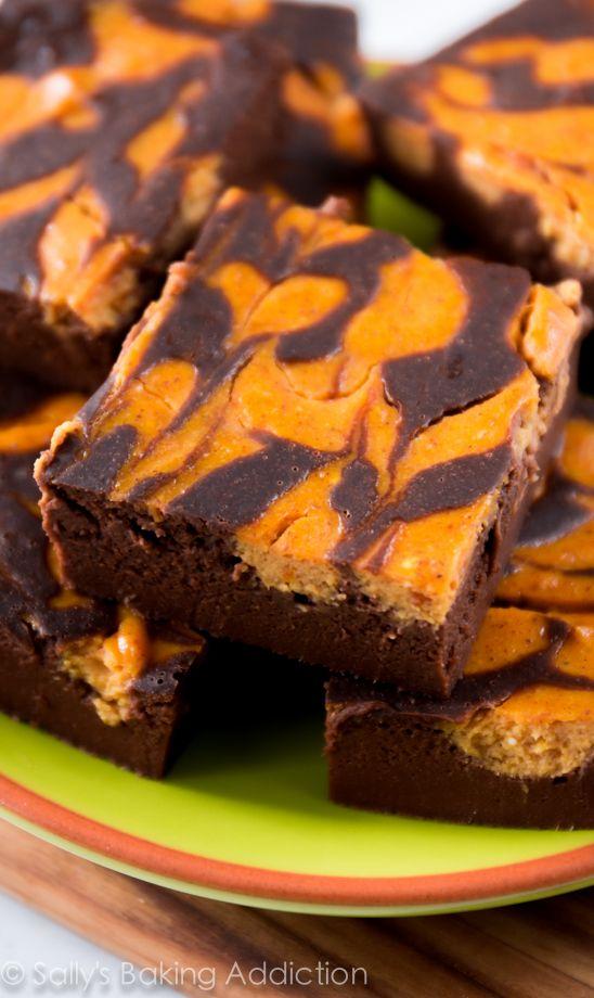 Skinny Pumpkin Brownies - These dark, fudgy pumpkin swirl brownies are lightened up using wholesome ingredients!