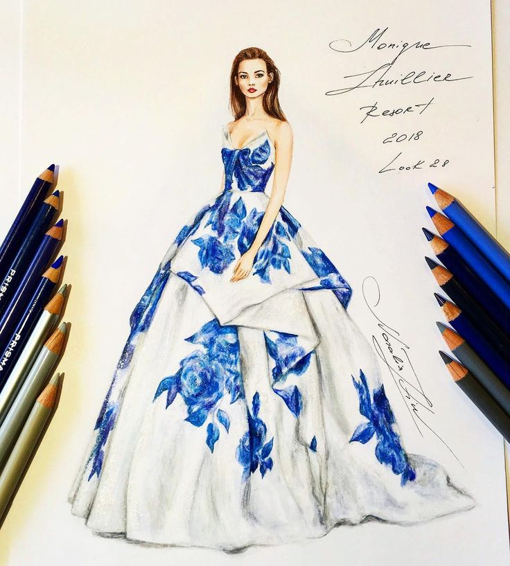 #nataliazorinliu Monique Lhullier Resort 2018 @moniquelhuillier  It was actually my first illustration when the gown was drawn with coloured pencils, normally I use Copic Sketch Markers. I found that it was slightly faster and easier in terms of control of the colour intensity, and probably, colour depth. For those guys who have or don't have markers for some reason I think coloured pencils is also a great option #handdrawn #sketch #illustration #moniguelhuillier #fashionillustration #desi