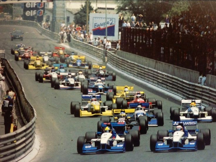 """Dumb and Dumber"" - Start of the LV Grand Prix de Pau 1995 - DAMS' team mates (1) Guillaume Gomez and (2) Tarso Marques - Reynard 95D Cosworth AC lead the pack off the grid. They will crash together out of pure stupidity. Probably the most moronic crash I've ever witnessed and one of the most spectacular too. Some say Jean-Paul Driot has been loud and explicit when his two stupid drivers walked back to DAMS' hospitality..."