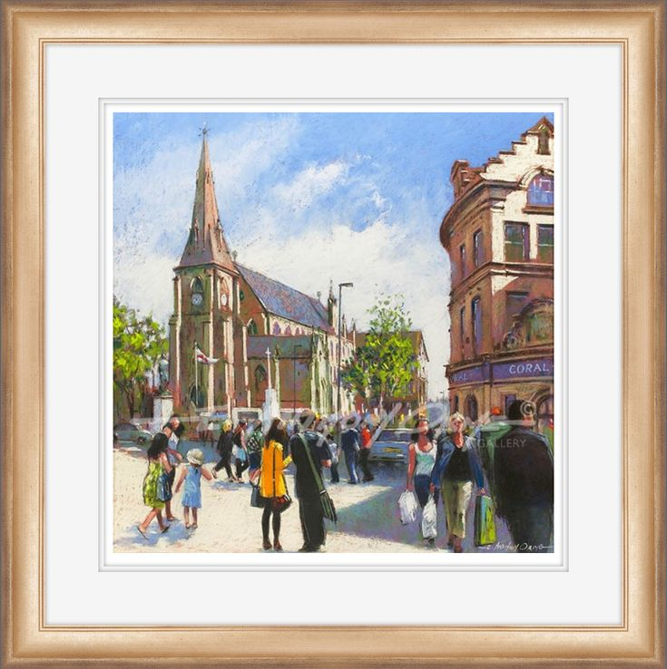 Bury Parish Church - painting by E. Anthony Orme - has been much loved and cherished over the generations and stands proud as it overlooks the memorial statue of Sir Robert Peel and in the background the ' Two Tubs ' public house.