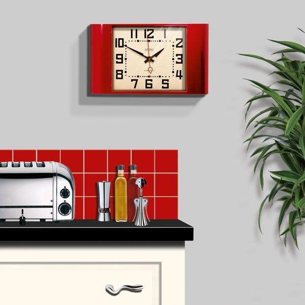 Amazing Newgate Metro Wall Clock   Red Vintage Kitchen Clock