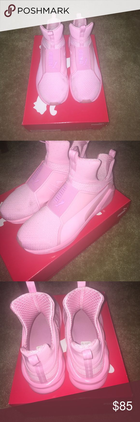 Pink puma fierce women Pink puma fierce Tennis shoes women's sz 8. They have been worn twice so they are not in the most perfect condition. Comes with box Puma Shoes Sneakers
