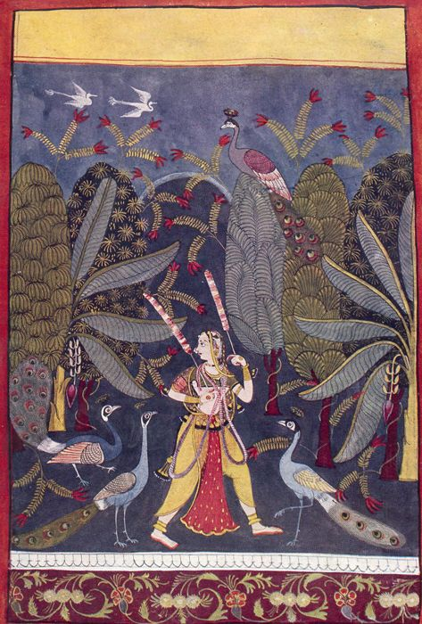 GIRL PACING IN A GROVE. Illustration to the Indian musical mode, Gauri Ragini Malwa, Central India, c. 1650. Gopi Krishna Kanoria Collection, Calcutta