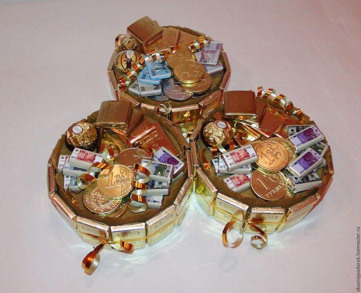 Купить Денежный тортик мини - золотой, денежное дерево, денежный подарок, деньги в подарок, торт