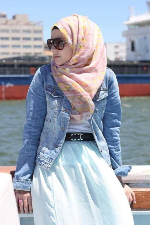 casual hijab style, jean jacket with a super long dress ^-^