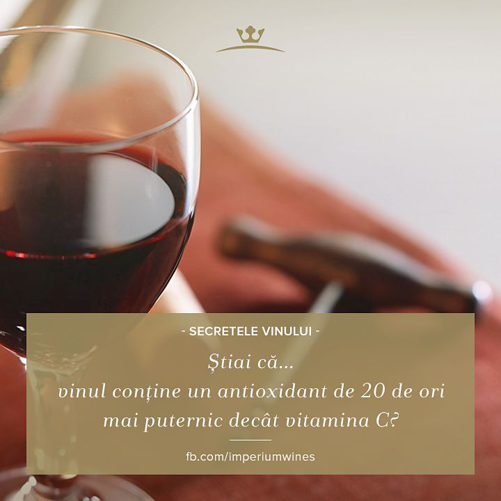 Unul dintre motivele pentru care vinul este considerat foarte sănătos e conținutul său foarte bogat în antioxidanți și vitamina C: http://healthy.kudika.ro/articol/healthy~medicina-alternativa/9728/resveratrolul-antioxidantul-din-vinul-rosu.html