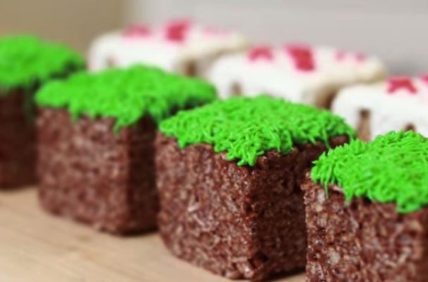 Minecraft Grass Blocks Rice Krispy Treats / The shape is just so perfect as a treat and as a Minecraft block. What a nifty idea for everyone in the fam.