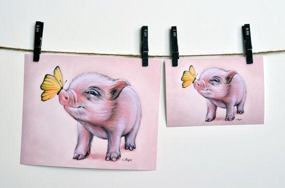 Mini Pig archival print. Micro pig giclée print. by MimoCadeaux, $33.00