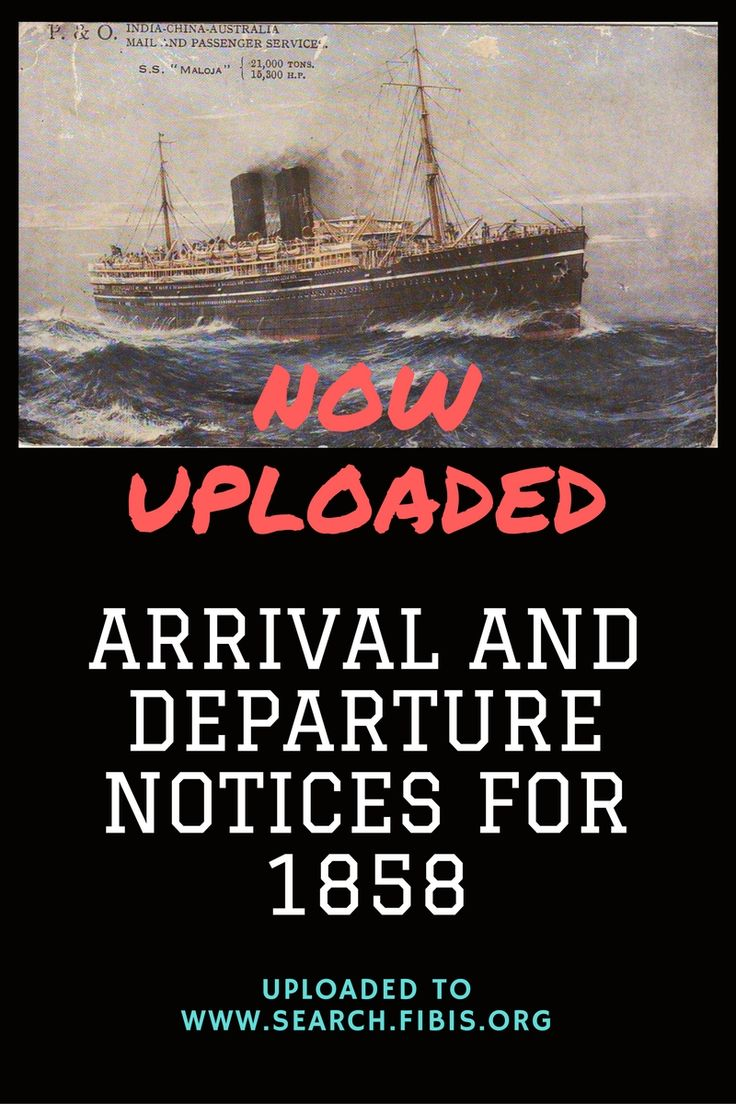 Times of India arrival and departures notices 1858
