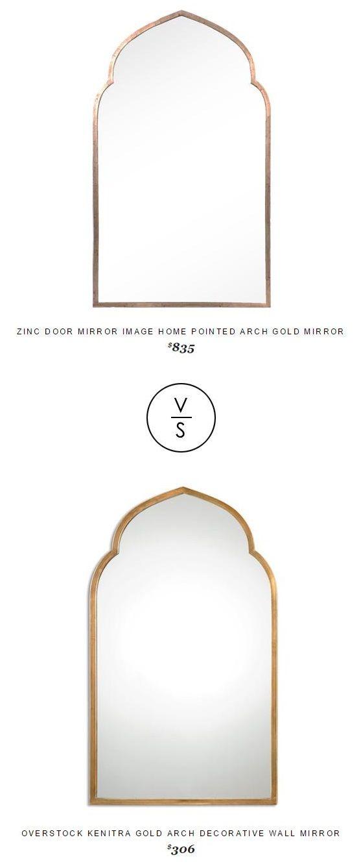 @zincdoor Mirror Image Home Pointed Arch Gold Mirror $835 Vs @overstock Kenitra Gold Arch Decorative Wall Mirror $306