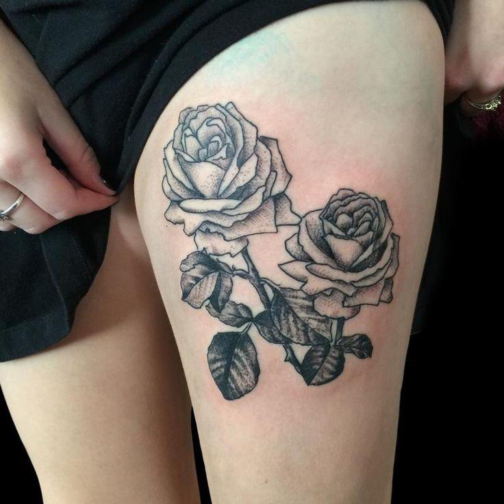 Single Rose Flower Tattoo Legs: 28 Best Single Black Rose Tattoos For Men Images On