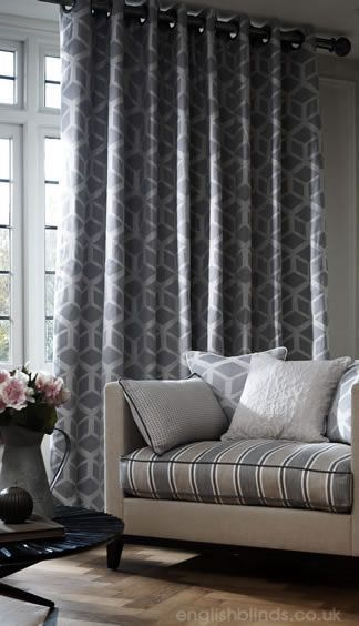 Modern grey and white geometric patterned curtains