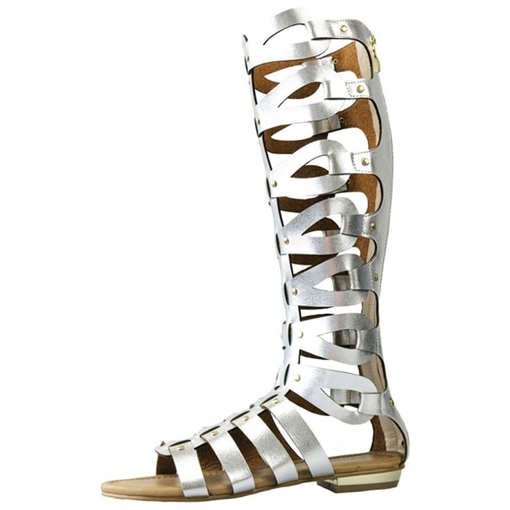Womens Cut Out Flat Knee Boots Gladiator Sandals Silver EU Size 42 - US B(M) 11. Back zip up. Flat sandals. No-heel / Knee-high / Open-toe. Comfortable and fashion summer shoes for women/ girl/ lady. Shaft measures approximately 14.7 from arch.