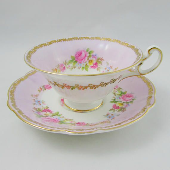 Foley Pink Tea Cup and Saucer with Roses and Floral Bouquet