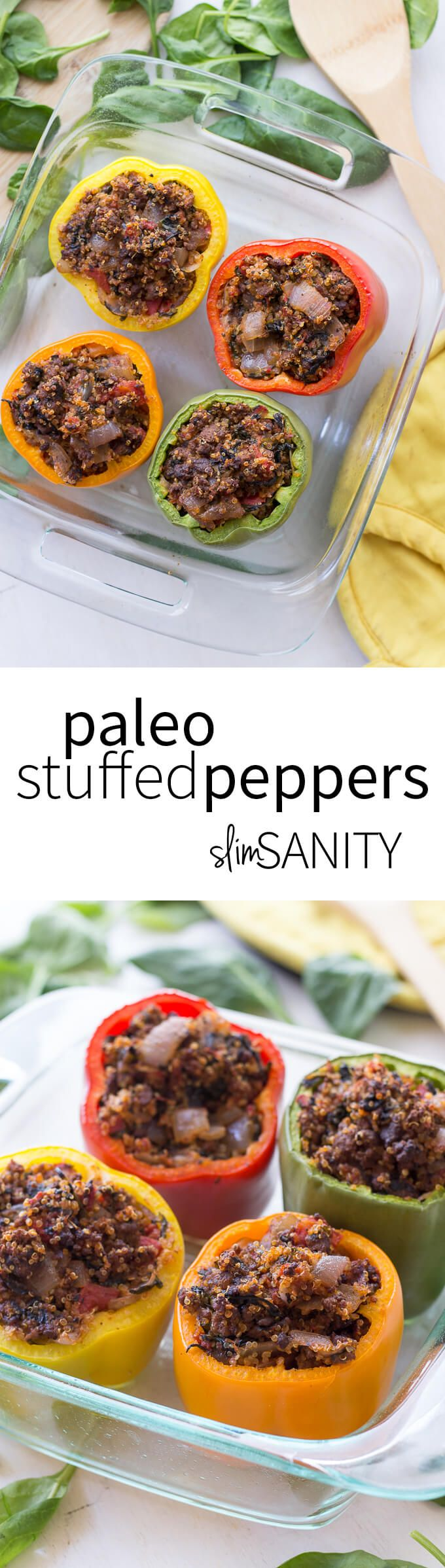 These paleo stuffed peppers are an easy way to get a balanced, healthy dinner with lots of veggies that your whole family will enjoy! | slimsanity.com