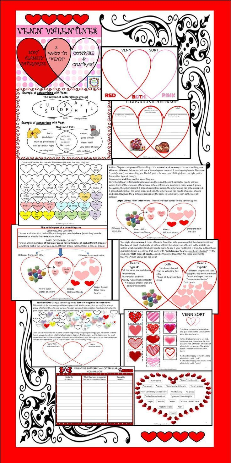 Do you think Venn diagrams are great tools for Compare/Contrast? I agree!They are also very useful for sorting, classifying, and categorizing information. Your kids will love using these valentine themed Venn diagrams both ways with this resource! Mini lessons and visual aids included.