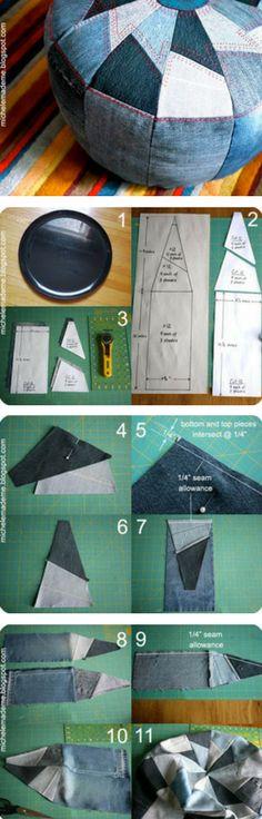 DIY Denim Jeans Pouf