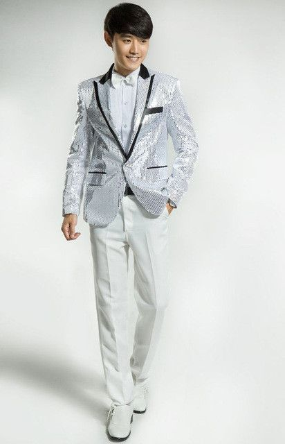 (Jacket+Pants) Gold Men's Dress Sequined Costumes Wedding Suits For Men Suits Shiny For Men Latest Coat Pant Designs Suit