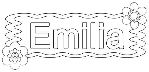 Beliebte Mädchennamen: Ausmalbild: Emilia zum Ausmalen