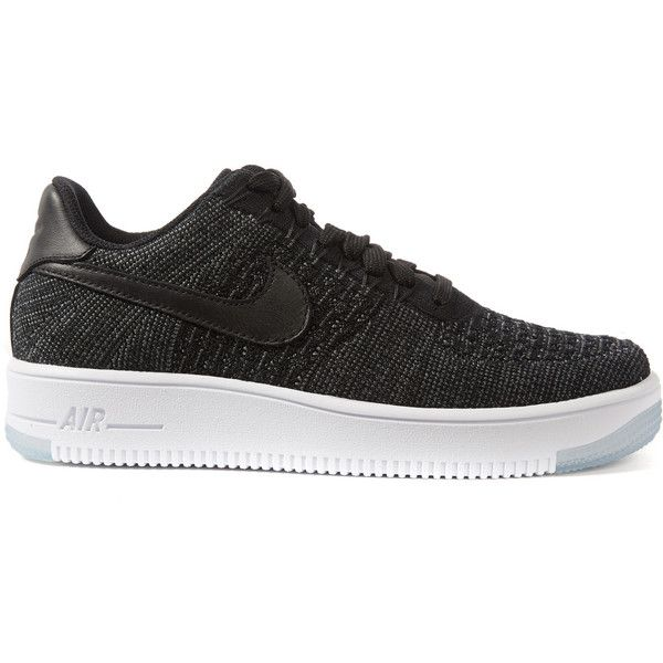 Nike Black Air Force 1 Flyknit Trainers ($175) ❤ liked on Polyvore featuring shoes, sneakers, nike shoes, woven sneakers, kohl shoes, black trainers and lightweight shoes