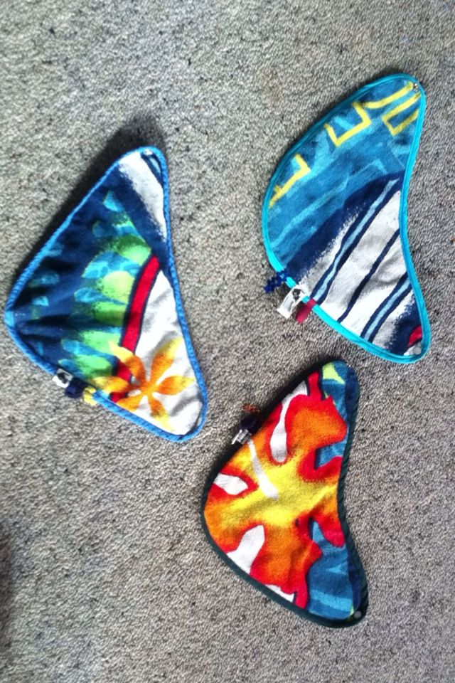 Funky Bandanna bibs up-cycled from an old beach towel and nylon backing