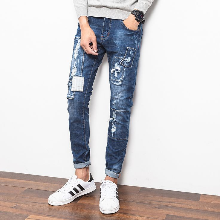 New Designs Men Ripped Jeans Pant Korean Style Slim Fit Denim Pants 2016 Fashion Mens Skinny Jeans Hip Hop Male Trousers Sale