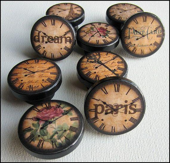 Antique Clock Knobs  Paris Knobs  Eiffel by SweetPetitesBoutique, $5.00