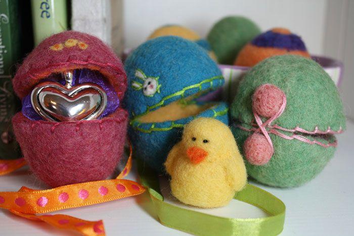 wet felting easter eggs